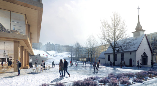 New university buildings form a spatial framing, where the park is the unifying element. The square is enriched with small landscape interventions, and facilitates external business activities. (Illustration by Beauty and the Bit). Image Courtesy of KOHT Arkitekter