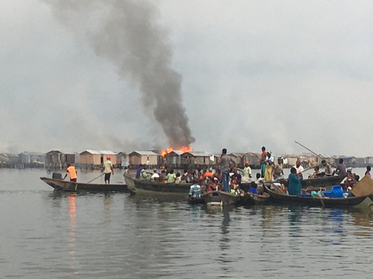 The brutal eviction of Otodo-Gbame in Lagos. Image Courtesy of Justice & Empowerment Initiatives via Common Edge