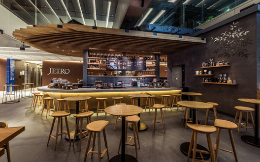 The bar counter at the Ark Hills shop, which was designed in Revit. Image Courtesy of Starbucks Japan