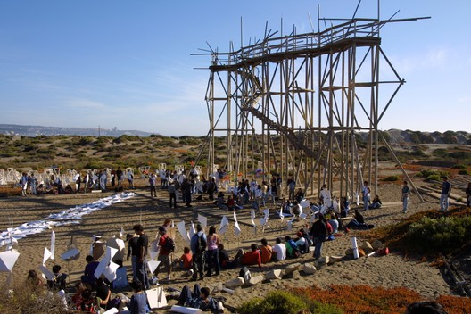 "Archivo Histórico Jose Vial, Towers Square, 2003, Open City, Viña del Mar, Chile. Courtesy of Archivo Histórico José Vial, Escuela de Arquitectura y Diseño, PUCV. From the 2017 Individual Grant to Marcelo Araya, Andrés Garcés, Iván Ivelic, and Manuel Sanfuentes for ""Amereida Phalene Latin América."". Image Courtesy of Graham Foundation"