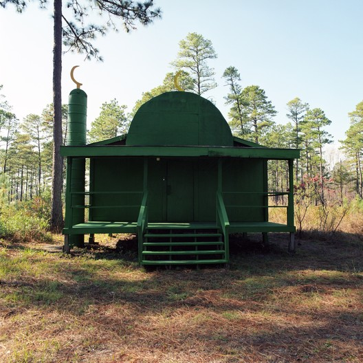 "Christopher Sims, Green Mosque, Camp Mackall, North Carolina, 2006. Courtesy of the artist. From the 2017 Individual Grant to Christopher Sims for ""Theater of War: The Pretend Villages of Iraq and Afghanistan."". Image Courtesy of Graham Foundation"