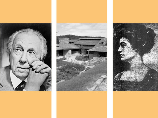 From left: Photograph by Al Ravenna <a href='http://https://commons.wikimedia.org/wiki/File:Frank_Lloyd_Wright_portrait.jpg'>via Wikimedia</a> (public domain); © <a href='https://commons.wikimedia.org/wiki/File:Looking_at_Taliesin_from_Hill_Crown.jpg'>Wikimedia user MaryKieran</a> licensed under <a href='https://creativecommons.org/licenses/by-sa/3.0/deed.en'>CC BY-SA 3.0</a>; <a href='http://https://commons.wikimedia.org/wiki/File:Mamah_Borthwick_-_newspaper_1911.jpg'>via Wikimedia</a> (public domain)