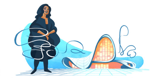 Zaha Hadid in front of the Heydar Aliyev Center. Image via Google Doodles
