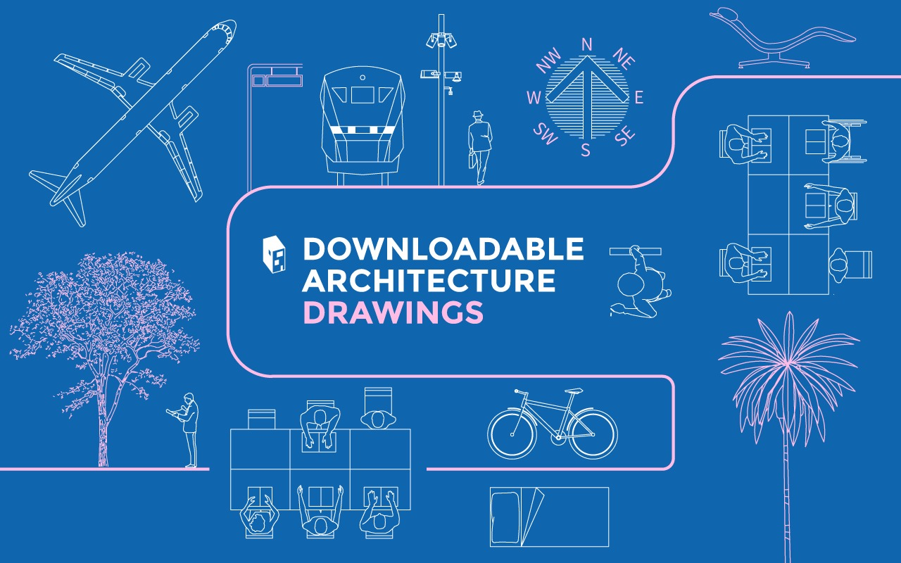 hight resolution of a library of downloadable architecture drawings in dwg format