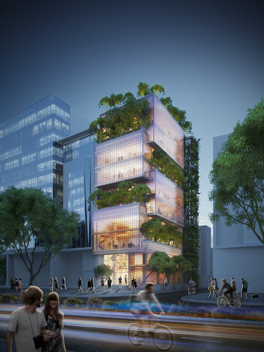 Exterior Night View. Image Courtesy of VTN Architects