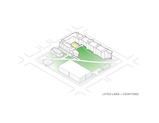 Lifted Lawn + Courtyard Axonometric