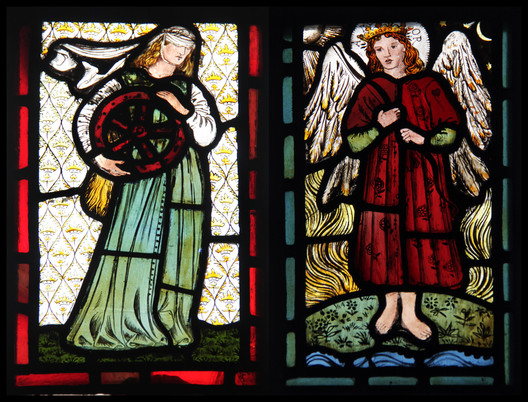 This stained glass window, depicting Love and Hate, was one of many designed by friends and family of William Morris throughout Red House. ImageCourtesy of Flickr user KotomiCreations (licensed under CC BY-NC 2.0)