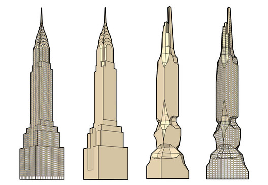 Hollwich Kushner's 3-stage transformation of the Chrysler Building. Image Courtesy of Hollwich Kushner