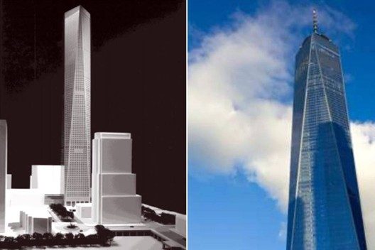 Park's Cityfront '99 design (left) compared to One World Trade Center (right). Image via 6sqft