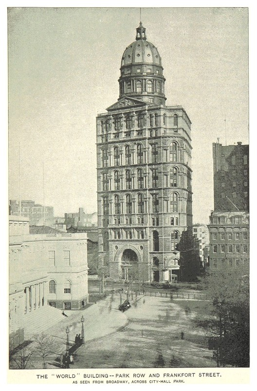 Image <a href='https://commons.wikimedia.org/wiki/File:(King1893NYC)_pg627_THE_WORLD_BUILDING._PARK_ROW_AND_FRANKFORT_STREET.jpg'>via Wikimedia</a> (public domain)