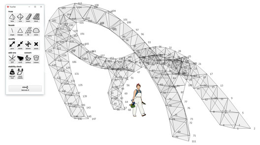 Digital model of the CHI'17 Pavilion in the Trussfab editor in Sketchup. Image © Robert Kovacs and Oanh Lisa Nyugen Xuan