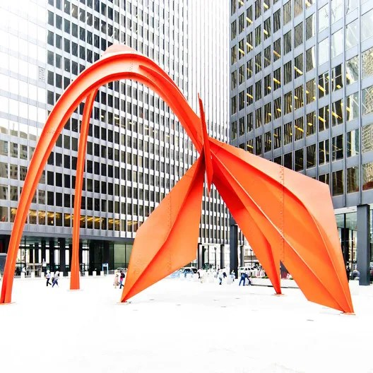 Flamingo, 1973, installed at the Federal Center Plaza, Chicago. Image © Samuel Ludwig