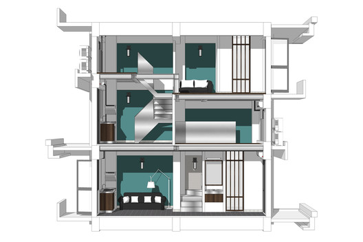 Building No.5 - Skip-floor Apartment perspective section