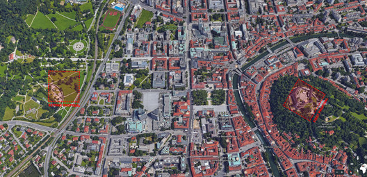 Jože Plečnik's unrealised second proposal for the Slovenian Parliament. Image © Kristijan Tavcar
