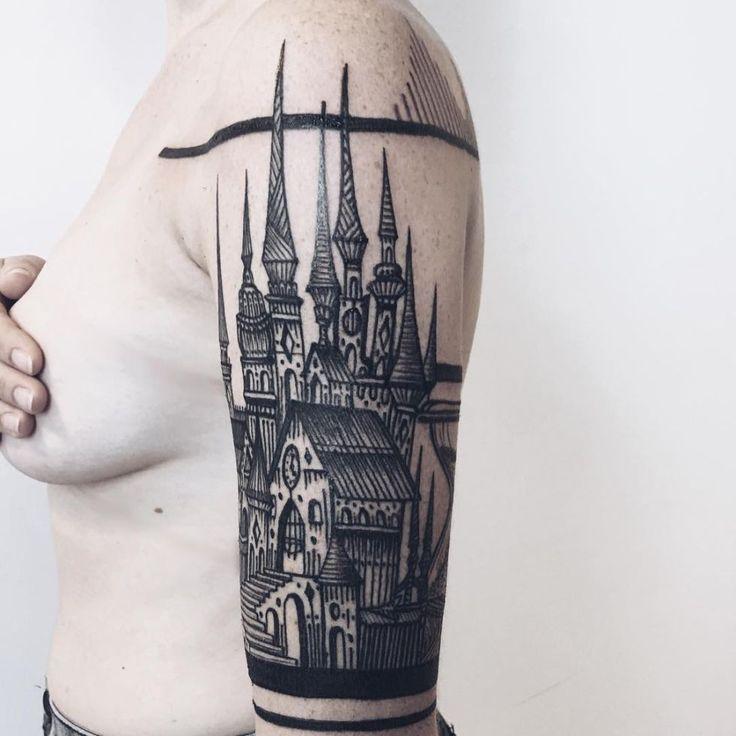 118 impresionantes tatuajes de arquitectura,kickassthings.com. <a href='https://www.pinterest.se/pin/352547477063506574/'>Via Pinterest</a>
