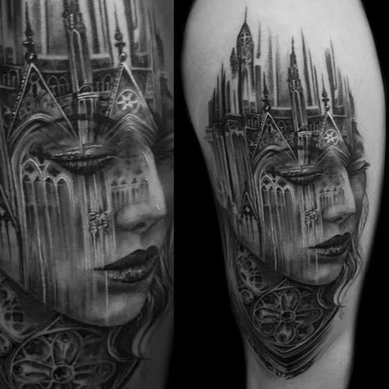 118 impresionantes tatuajes de arquitectura,lh6.googleusercontent.com. <a href='https://br.pinterest.com/pin/90916486202480913/'>Via Pinterest</a>