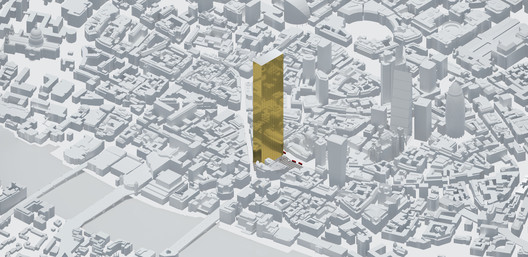 The Ingot, a proposal by the REAL Foundation for The Ingot, a gold-plated tower sited next to London Bridge, and designed to house low-paid, precarious workers. Image Courtesy of Real Foundation
