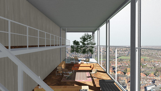 Interior view of Default Grey, a proposal for a domestic tower that provides inhabitants autonomy from debt and enough anonymity to shield them from surveillance. Image Courtesy of Real Foundation