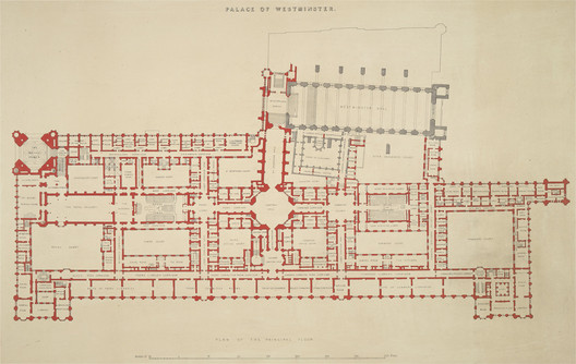 Plan of the Palace of Westminster (attributed to the Office of Charles Barry). Image via Wikimedia Commons (Public Domain)