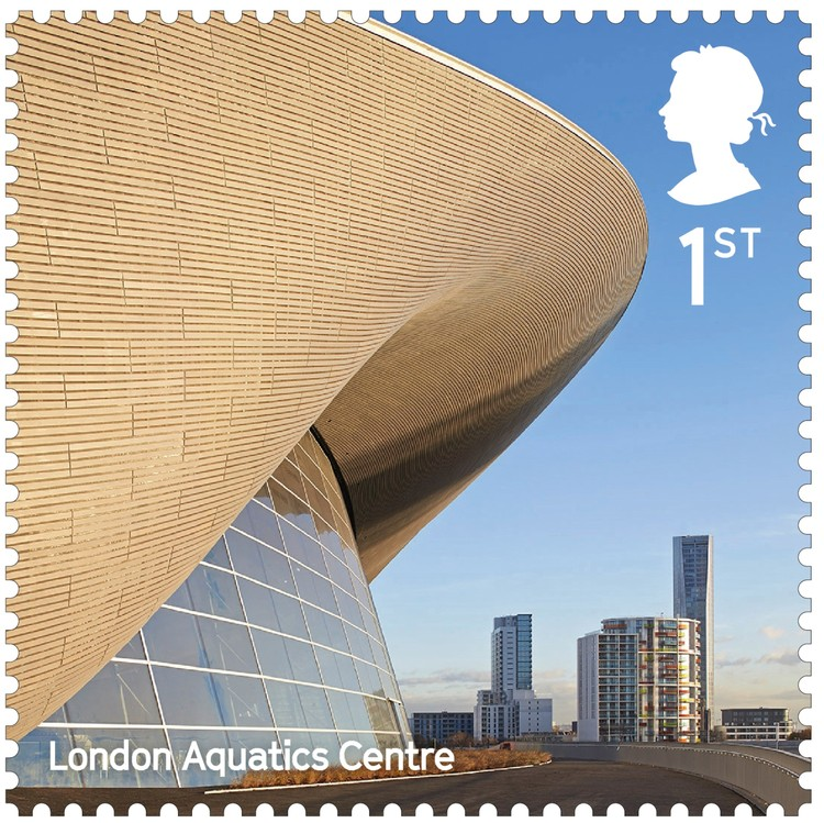 London Aquatics Centre for 2012 Summer Olympics / Zaha Hadid Architects. Image Courtesy of Royal Mail