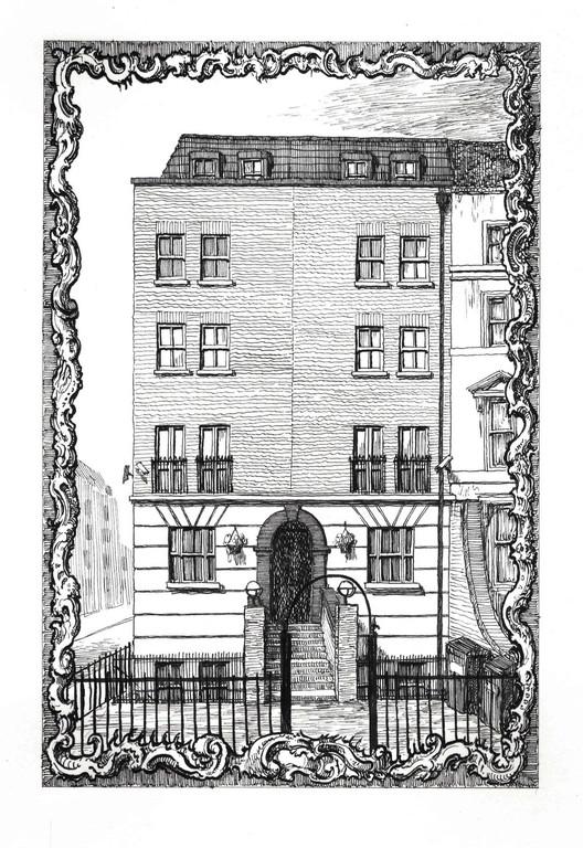 428 Hackney Road, corner of Temple Street, E2 7AP. Ink on Paper, 21 x 14 cm. Copyright Pablo Bronstein. Courtesy Herald St, London and Galeria Franco Noero, Turin. Image Courtesy of RIBA