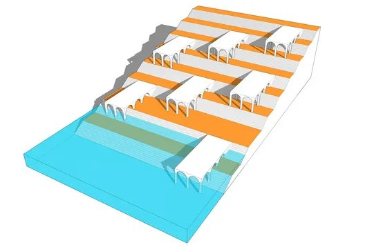 Colonnades for Uninterrupted Water Flow. Image Courtesy of Morphogenesis