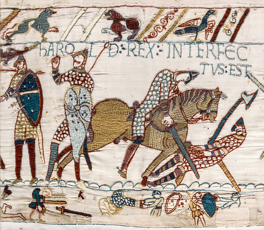"Death of Harold (detail from the Bayeux Tapestry). © <a href=""https://en.wikipedia.org/wiki/File:Bayeux_Tapestry_scene57_Harold_death.jpg"">Wikimedia Commons user Myrabella</a> available in the Public Domain. Image Courtesy of Myrabella"