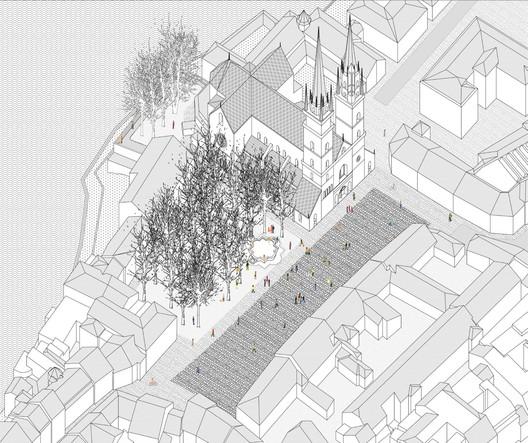 View of Munsterplatz, location of Thermae Urbano Project. Image © KOSMOS
