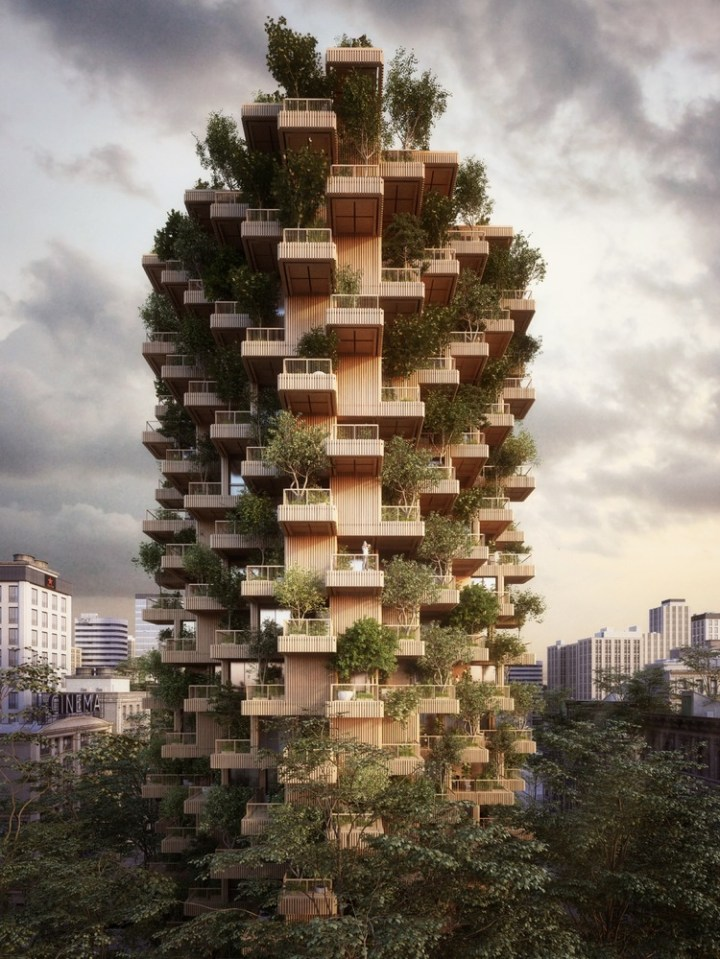 Penda Designs Modular Timber Tower Inspired by Habitat 67 for Toronto,Courtesy of Penda