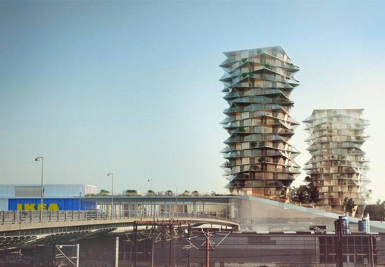 BIG's Cactus Towers in Copenhagen Will Stand Next to an Urban IKEA, Courtesy of BIG