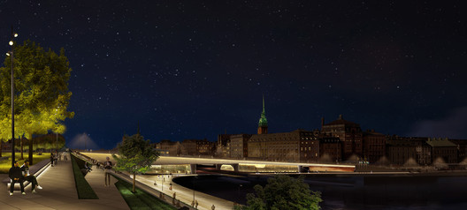Underbridge lighting. Image by ÅF Lighting. Image Courtesy of City of Stockholm
