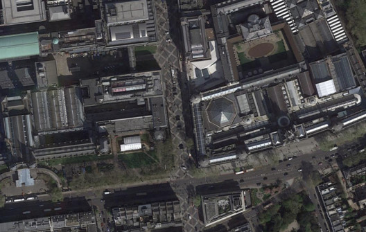 Exhibition Road, Royal Borough of Kensington and Chelsea. Image via Google Earth