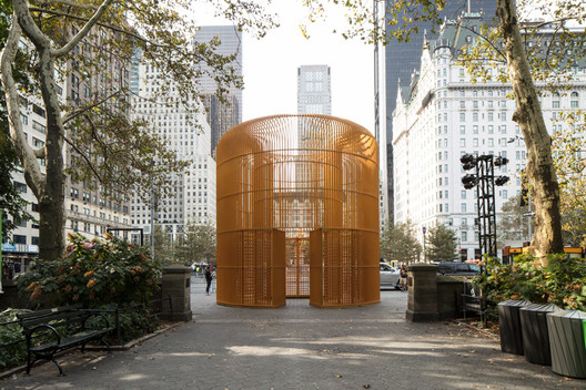 """""""Gilded Cage,"""" by Ai Weiwei, at Doris C. Freedman Plaza, Central Park. Image © Jason Wyche"""
