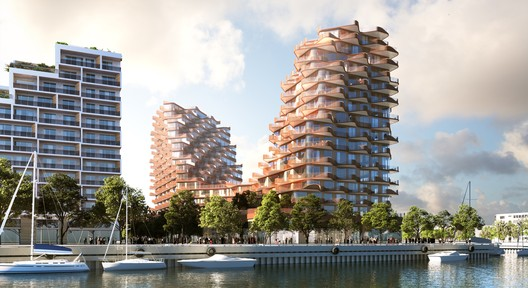 Looking northeast to The Waves at Bayside. Image © 3XN