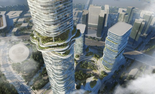 Sky Forest and Cultivated Terraces. Empire City by Ole Scheeren. Image © Buro Ole Scheeren