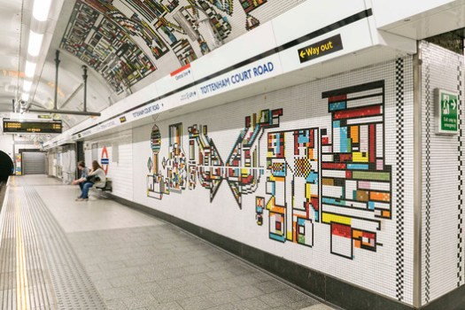 Tottenham Court Road mural by Eduardo Paolozzi. Image © Will Scott for Blue Crow Media