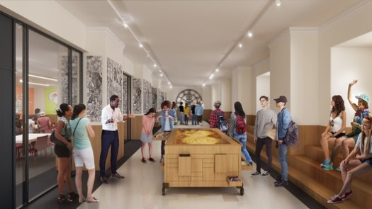 The new 40th Street entrance will lead to the Center for Research and Learning, where students will be able to work with materials from the library's collections. Image Courtesy of Mecanoo with Beyer Blinder Belle