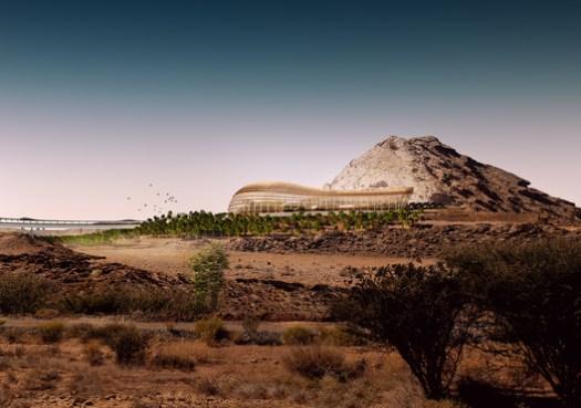 Exterior view of Northern Habitat Biome. Image via ©Arup/Grimshaw