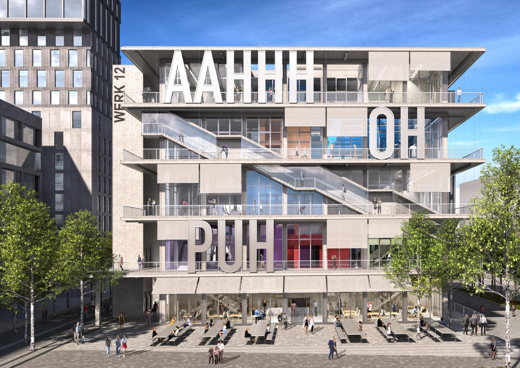 Gallery of MVRDV Clad Flexible. Mixed-Use Munich Building in Giant German Slang Words - 2