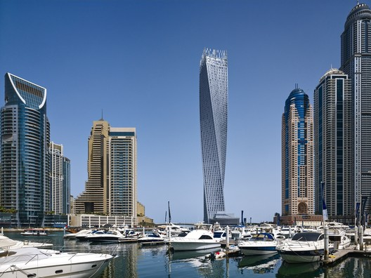 Cayan Tower in Dubai. Image © Tim Griffith / SOM
