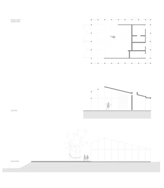 Social Area Plan, Section and Elevation