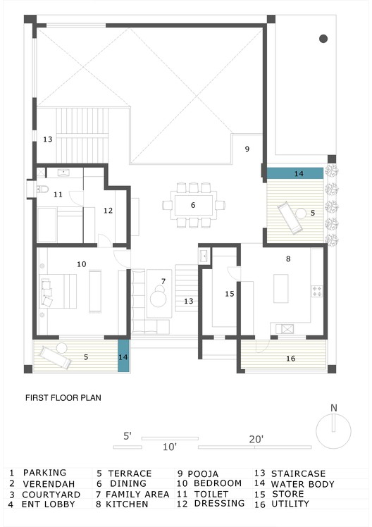 FIRST_FLOOR_PLAN Hambarde Residence / 4th Axis Design Studio Architecture