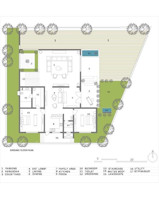 GROUND_FLOOR_PLAN Hambarde Residence / 4th Axis Design Studio Architecture