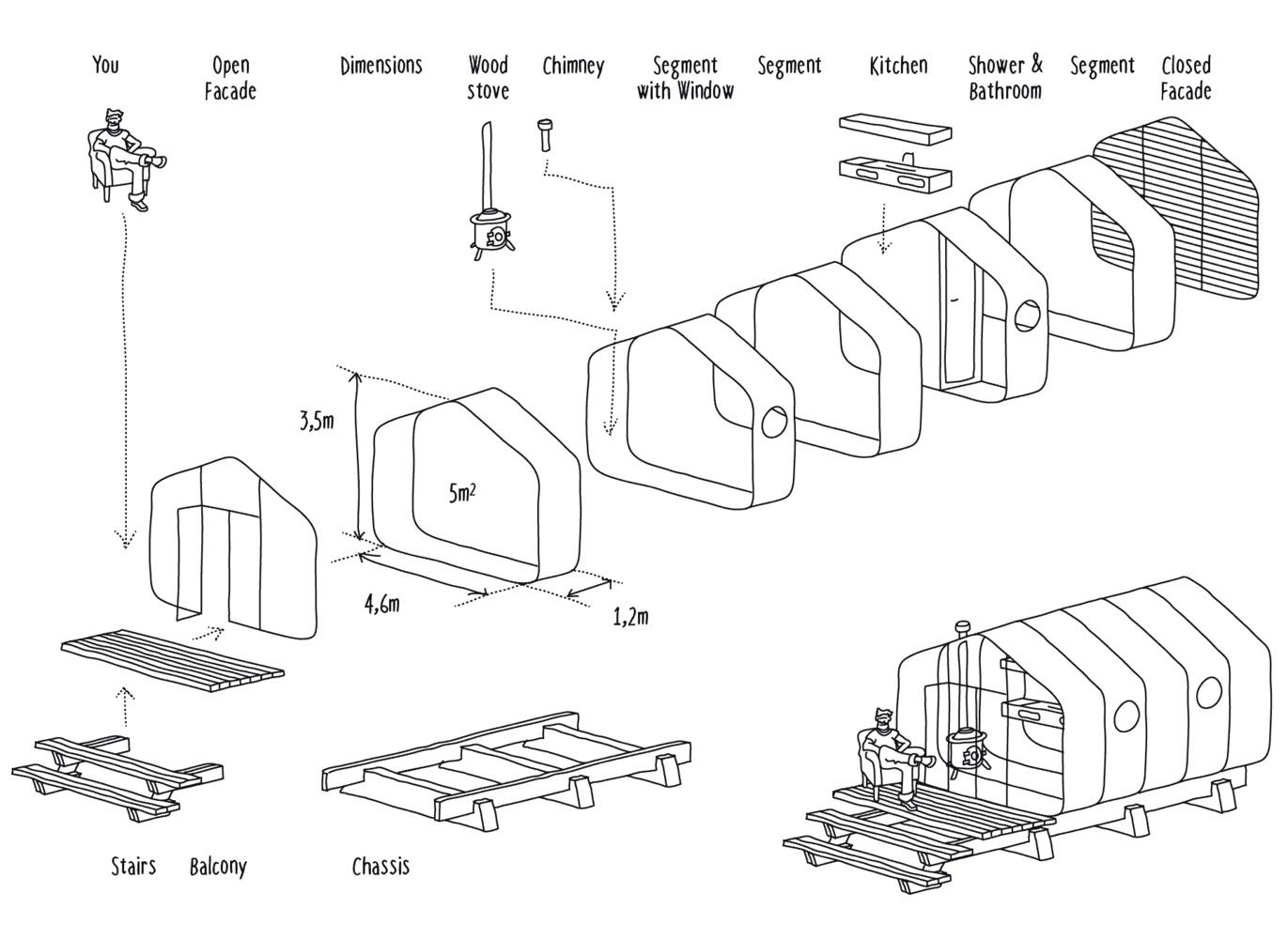hight resolution of modular eco housing pushing boundaries with cardboard diagram of modular system