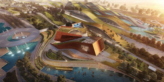 Aerial view. Rendering by Flying Architecture. Image Courtesy of UNStudio