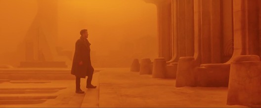 In <em>Blade Runner 2049</em>, architecture is largely replaced with monochrome cinematography. Here, Las Vegas is ORANGE. Image © 2017 Warner Bros. Entertainment Inc. <a href='http://www.imdb.com/title/tt1856101/mediaindex'>via imdb</a> (used under fair use)