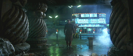 In <em>Blade Runner</em>, the architecture is ominous and even Gothic in character. Image © 1982 Warner Bros. Entertainment Inc. <a href='http://moviecitynews.com/2012/10/wilmington-on-dvds-blade-runner/'>via Movie City News</a> (used under fair use)
