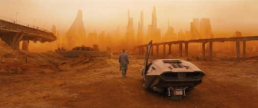 The action in <em>Blade Runner 2049</em> often doesn't even take place in Los Angeles. Here, K approaches Las Vegas. Image © 2017 Warner Bros. Entertainment Inc. <a href='http://www.imdb.com/title/tt1856101/mediaindex'>via imdb</a> (used under fair use)