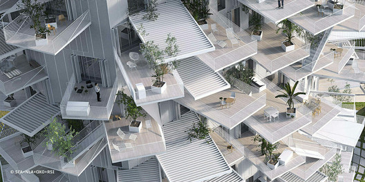 Architecture meets the outdoors in Sou Fujimoto's L'arbre Blanc housing tower, under construction in Montpeller, France. Image Courtesy of SFA+NLA+OXO+RSI