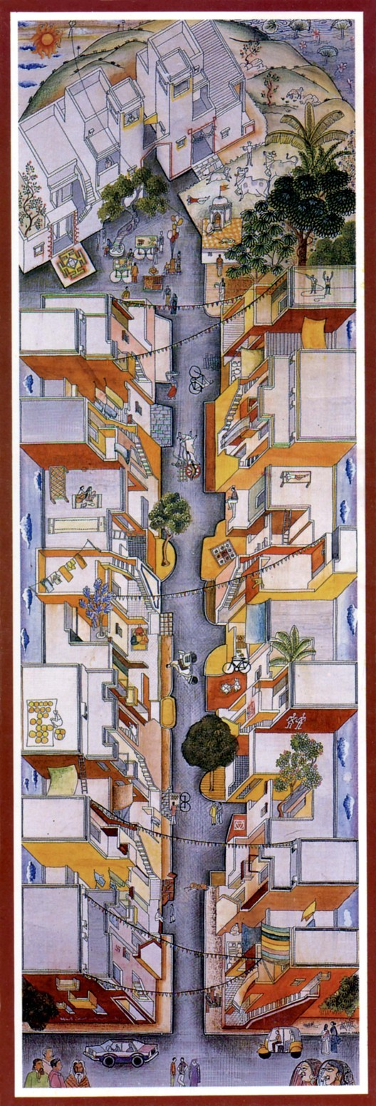 Concept Drawing for Aranya Social Housing. Image Courtesy of Pritzker Architecture Prize